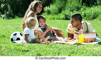 young family with picnic