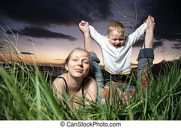 Young family with small child outdoors