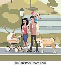 Young family with toddler and baby walking in park