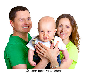 Young family with baby boy in dreamland