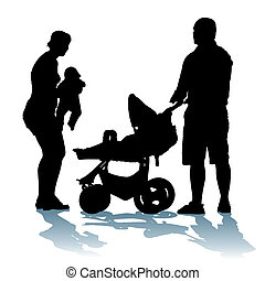 Young family - Young, happy family with newborn baby on a...