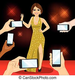 Young famous woman posing on red carpet for people with smartphones