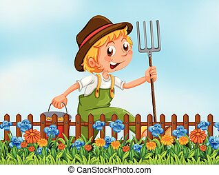 Young farmer at garden