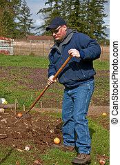 Young Farmer Raking in Dirt