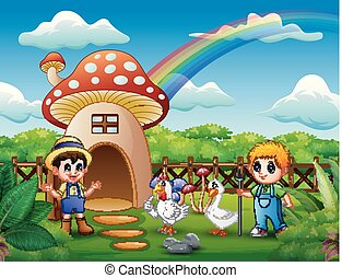 Young farmers with animals on the mushroom house