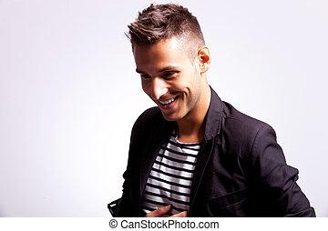 young fashion casual man laughing