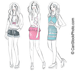 Young fashion girls illustration. Vector illustration. ...