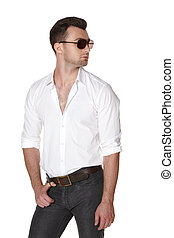Young fashion male in white shirt and sunglasses