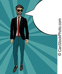 Young fashion man in suit, Pop art portrait