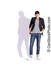 young fashion man looking down