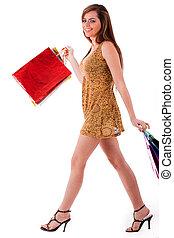 Young fashion model at shopping