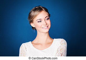 Young Fashion Model on Blue Background