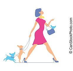 Young fashionable woman in pink dress is walking with dogs