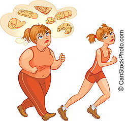 Young fat and thin woman jogging - Young woman jogging. Fat...