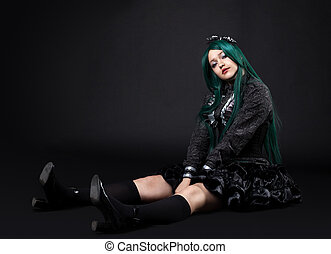 young fat girl portrait in dark cosplay character