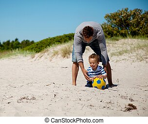 Young Father Enjoys the Outdoors with Son - Young loving ...