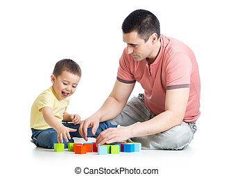 Young father playing with his son kid