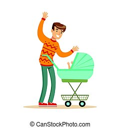 Young father walking with his newborn baby in a pram colorful character vector Illustration