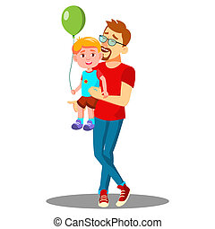 Young Father With A Child With Balloons In His Arms Vector. Isolated Illustration