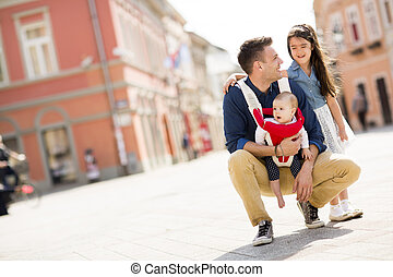 Young father with daughters - Young father with cute ...