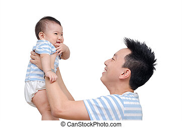 Young father with his child over white
