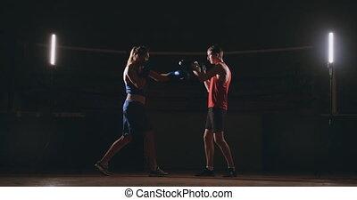 young felnőtt, nő, cselekedet, kickboxing, képzés, noha,...