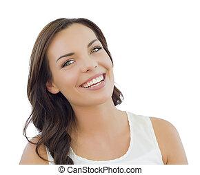 young felnőtt, nő, headshot, portré, white