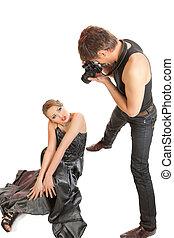 young felnőtt, női, formál, és, photographer.