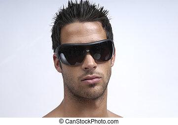 young felnőtt, noha, napszemüveg