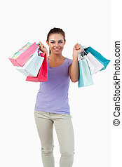 Young female after shopping tour