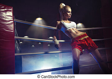 Young female boxer prepare to fight - Young female boxer...
