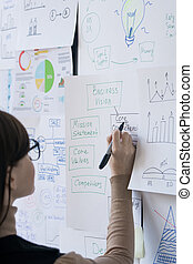 Young female broker or coach pointing at one of papers with flow charts