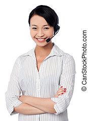 Young female call centre executive