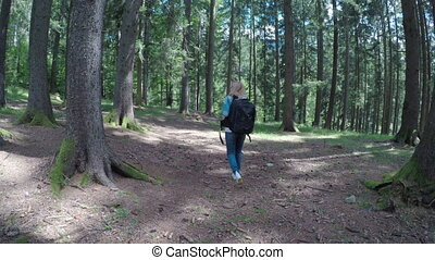 Young female camper with backpack slowly walking and admiring the mountain forest