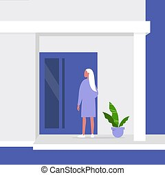 Young female character standing next to a front door, building entrance, residential property