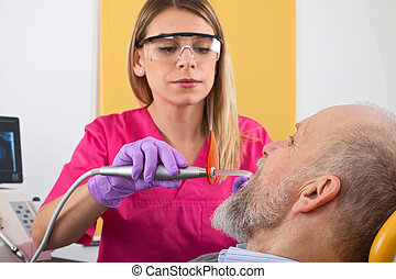 Young female dentist
