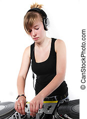 Young female DJ playing music