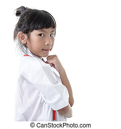 Young female doctor - isolated over a white background