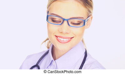 Young female doctor - Close up pf the face of a beautiful...