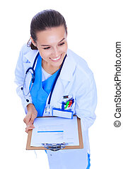Young female doctor with clipboard standing on white background