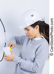 young female electrician