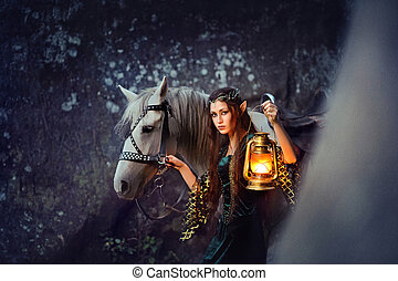 Young female elf walking with her horse holding a lantern