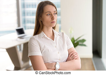 Young female entrepreneur thinking about solution