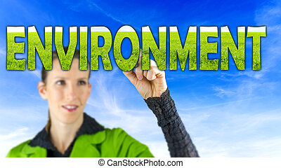 Environment - Young female environmental activist writing...