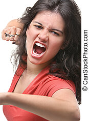 Young female expressing her anger - A young female...