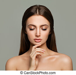 Young Female Face. Spa Woman with Healthy Skin, Skincare Concept
