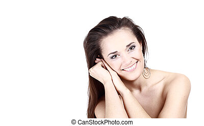 young female face with a wellness complexion