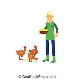 Young female farmer cartoon character in green rubber boots feeding chickens