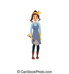 Young female farmer standing with shovel, gardener at work cartoon vector Illustration