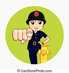 Female Firefighter Pointing Finger